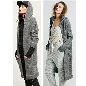Free People Right Angles Hooded Sweater Jacket